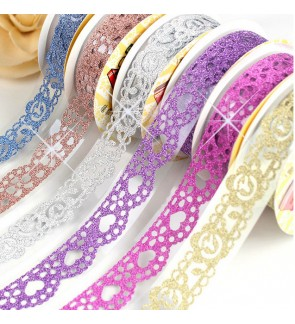 [Ready Stock] Lace Pattern Glitter Bling Self-adhesive Lace Tape Sticker DIY PVC