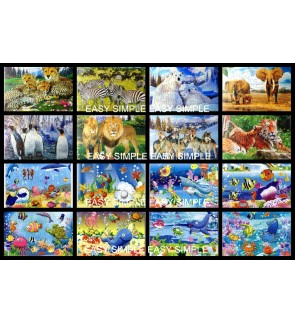 [Ready Stock] 40Pcs Animals Ocean Kids Puzzle Cute Jigsaw Gift