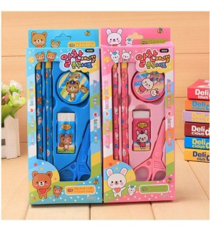 [Ready Stock]5pcs Korea Kid Cartoon School Stationery Supplies Set Birthday Gift