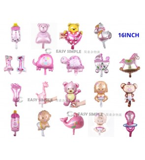 [Ready Stock] (1 Piece) 16Inch Small Mini Size Baby Girl 1St Full Moon Birthday Theme Foil Balloon