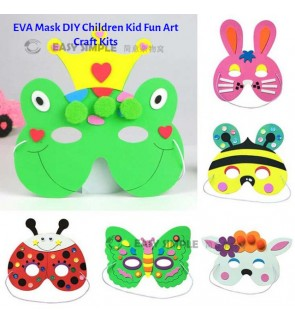 [Ready Stock] (1 Piece) EVA Mask DIY Children Kid Fun Art Crafts Kits Education Learning No Scissor Glue