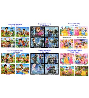 [Ready Stock] 4 design in 1 set Frozen Paw Patrol Princess Kids Puzzle Cute Jigsaw Gift Education