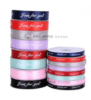 [Ready Stock] 1 Roll 45Meters (1cm OR 2.5cm) 'Just For You' Printed Fancy Ribbon Silk Satin Flower Fabric Gift Deco