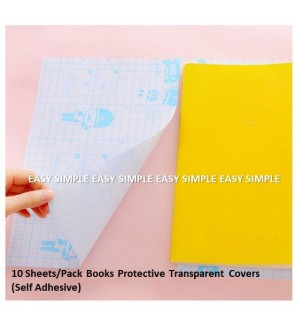 [Ready Stock] Deli 10 Sheets/Pack Book Protective Book Covers Transparent School