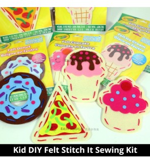 [Ready Stock] (1Pack) Felt Stitch It For Kids Dessert Cupcake Ice Cream Pizza Donuts DIY Craft Sewing Kit Holiday String