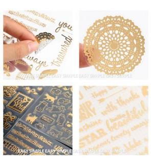[Ready Stock] Twinkle Stickers Vintage Gold Foil Sticker Decoration Scrapbook