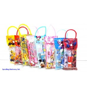 [Ready Stock] 5pcs/Bag Kid Cartoon School Stationery Supplies Set Birthday Gift