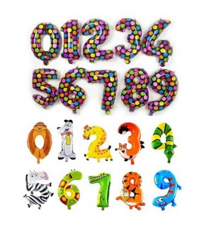 "[ReadyStock] Party Decoration Number 0-9 Aluminum Foil Balloons 16"" Polka Animal"