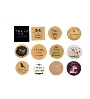 "(3 Sheet)""Thank You""'Especially4U""""Happy Birthday""""Merry Christmas"" Sticker Decorative Baking Sealing Paste Self Adhesive"