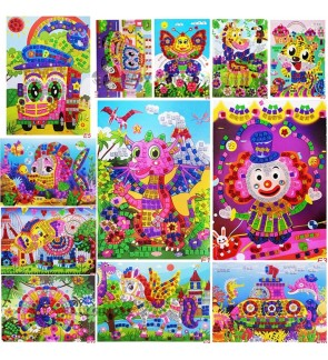 [Ready Stock] (1 Piece) Glitter Crystal EVA Foam Mosaic Stickers Painting 3D Puzzle DIY Crafts Gift for Kids Handmade