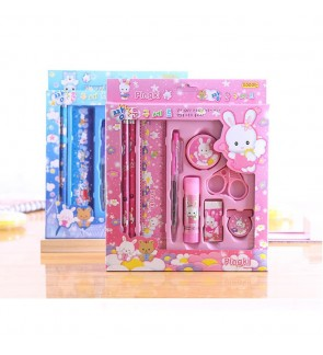[Ready Stock] 9pcs/set Kid Cartoon School Stationery Supplies Set Birthday Gift