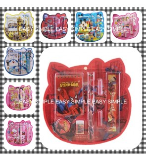 [Ready Stock] 8in1 Cartoon Kids Stationery Gift Pencil Birthday Party School Set