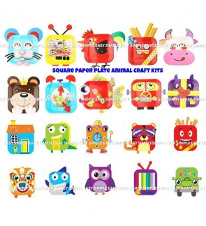 [Ready Stock] (1pc) New Design DIY - Square Paper Plate Animal Craft Kits Fun