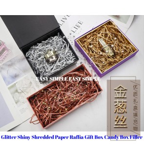 [Ready Stock] Glitter Shiny Shredded Paper Raffia Gift Box Candy Box Filler -50G