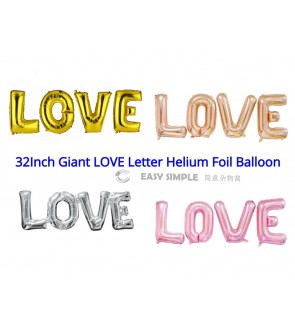 [Ready Stock] 32Inch LOVE Alphabet Letters Balloons Foil Balloons Gold Pink Rose Silver