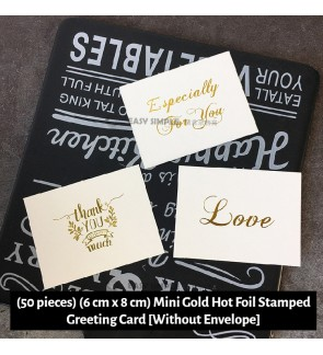 [Ready Stock] (50 pieces) Gold Hot Foil Stamped Greeting Card Calligraphy Gift Note Stationery Thank You Best Wishes