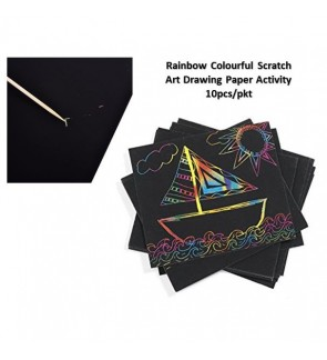 [Ready Stock] A4 Size (10pcs/pack) Magic Rainbow Colourful Scratch DIY Art Drawing Paper Activity Kits with Bamboo Stick