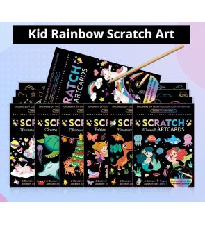 [Ready Stock] (1 Set-9pcs) (14x19cm) Magic Rainbow Colourful Scratch DIY Art Drawing Paper Activity Kits Bamboo Stick