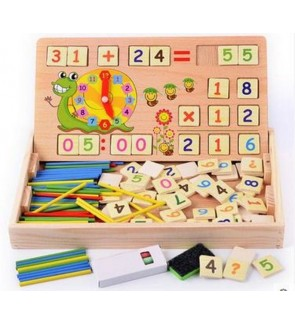 [Ready Stock]Kids Math Learning Tool Set Wooden Toy Kit Black Board Counting