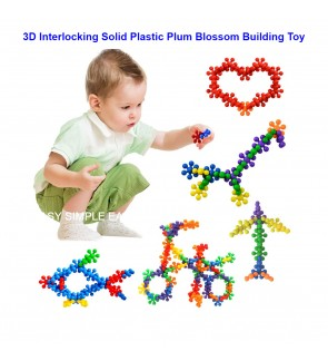 [Ready STock] (50pcs) 3D Plum Interlocking Plastic Colorful Molecules Solid Toys