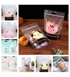 [Ready Stock] Resealable Plastic Biscuit Cookie Bag for Cookies Ziplock Gift Stand Up Bags