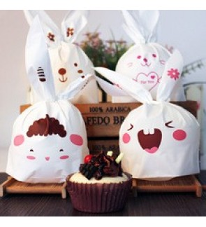 [Ready Stock] 10pcs Bunny Bakery Cookie Candy Plastic Party Door Gift Treat Bag
