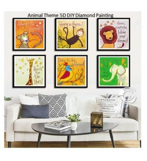 [Ready Stock] [38*38cm] Kid Room Home Decoration 5D DIY Diamond Painting Deco - Animal Theme Lion Giraffe