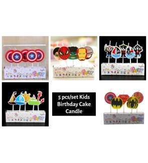 [Ready Stock] 5 pcs/set Kids Birthday Cake Candle Cupcake Toppers Party Supplies