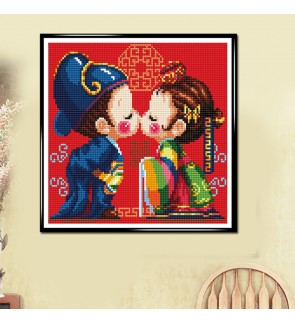 [Ready Stock] [40x40cm][Full Area Pasting] Korea Traditional Wedding 5D Diamond Painting DIY Room Decoration (No Frame)