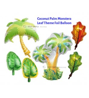 [Ready Stock] (1 Piece) Large Mini Size Summer Beach Coconut Tree Palm Tree Monstera Leaf Theme Foil Balloon Party Decoration