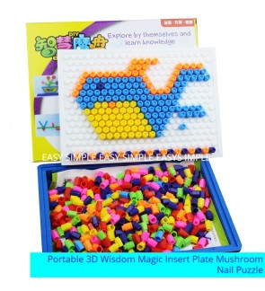 [Ready Stock] (Without Handle) Portable 3D DIY Mushroom Nail Puzzle Wisdom Insert Plate Pegboard