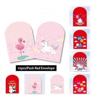 [Ready Stock] 10pcs/pack (9*9cm) Small Red Ang Pau Red Packet Red Envelope 30Days Baby Fullmoon Birthday Boy Girl Shower