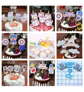 Cartoon Birthday Cake Topper Decoration Paper Toothpick Banner Party Accessories