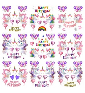 Unicorn Decor Party Supplies Kit with Headband Birthday Decoration Balloon Set