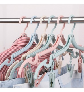 [Ready Stock] Portable Folding Clothes Hangers Foldable Drying Rack Travel Wheat