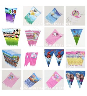 Kid Birthday Pennant Banners Paper Triangle Flags Party Supplies Decoration