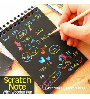 [Ready Stock] Rainbow Scratch Drawing Note Activity Book With Wooden Stick Kid