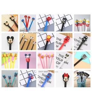 [Ready Stock] (1 Piece) School Office Stationery Gift Party Cute Kid Pink 3D Gel Pen Kawaii Heroes Boy Design