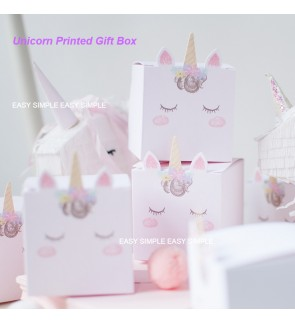 [Ready Stock] Kawaii Printed Unicorn Design Door Gift Paper Box Birthday Party