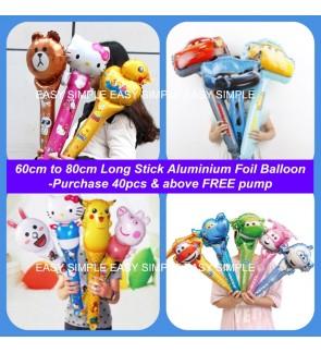 [Ready Stock]Aluminium Foil Balloon Birthday Decoration 60-80cm Long Stick Gift