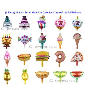 (1 Piece) 16Inch Small Mini Size Cake Dessert Ice Cream Fruit Happy Birthday Foil Balloon