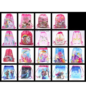 [Ready Stock] Drawstring Party Bags Gift Backpacks Goodie Favor Bag Girl Birthday
