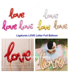 [Ready Stock] Ligatures LOVE Letter Foil Balloon Wedding Valentines Party Decor