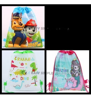 [Ready Stock] Paw Patrol Mermaid Dino Drawstring Party Bags Gift Backpack Goodie Favor Bag Birthday Party