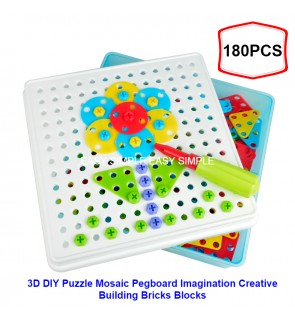 DIY Puzzle Mosaic Pegboard Imagination Creative Building Bricks Blocks Screw Nut
