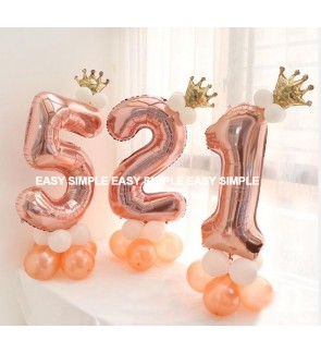 [Ready Stock]DIY Number Rose Gold Balloon Road Lead Column Birthday Foil Balloon