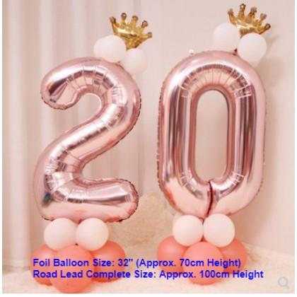 [Ready Stock]DIY Number Rose Gold Balloon Road Lead Column Birthday Foil Balloon