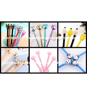 [Ready Stock] Kawaii Cute 3D Cartoon Stationery Black Gel Ink Pen Gift School