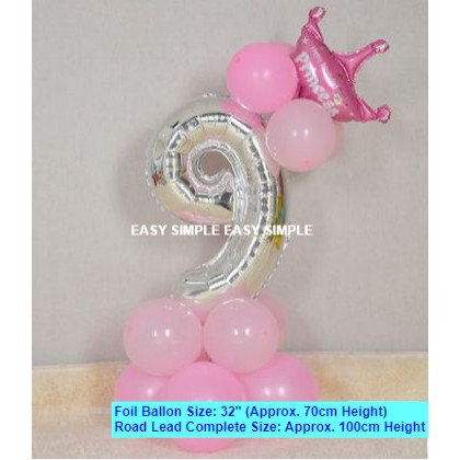 [Ready Stock]DIY Number Silver Pink Blue Balloon Road Lead Birthday Foil Balloon