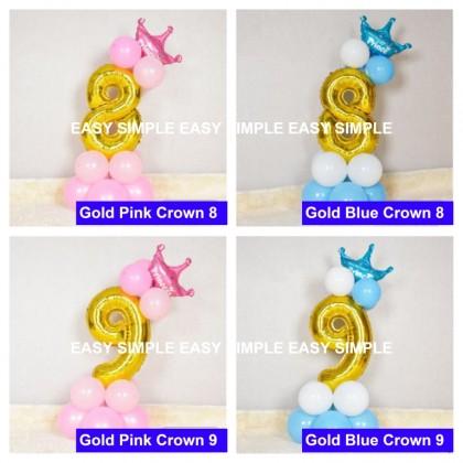 [Ready Stock]DIY Number Gold Balloon Road Lead Column Birthday Foil Balloon